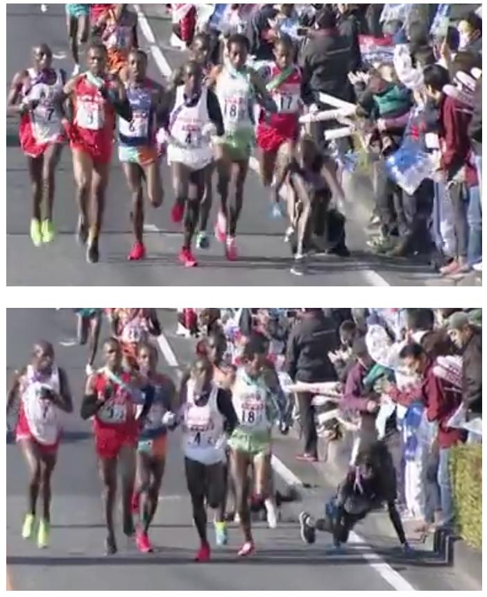 マラソン大会転倒の様子